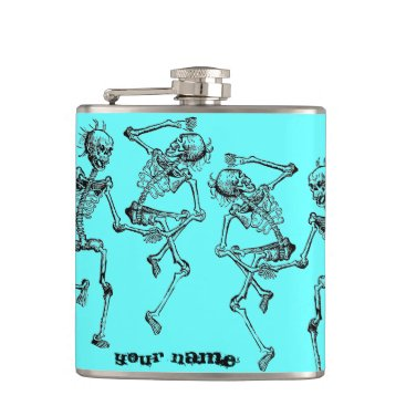 PERKYPILLOWS Dancing Skeletons Halloween Party Hip Flask Gift