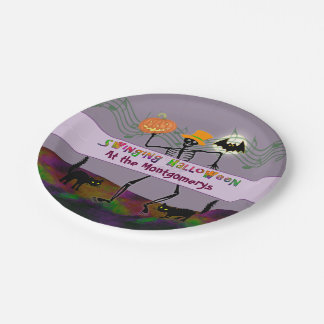 Dancing Skeletons Halloween Party Paper Plate