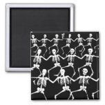 Dancing Skeletons II 2 Inch Square Magnet