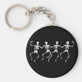 Dancing Skeletons II Basic Round Button Keychain
