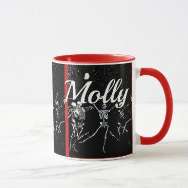 Halloween Themed Dancing Skeletons In Moonlight cup mug
