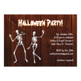 Dancing Skeletons on Wood Halloween Invitation