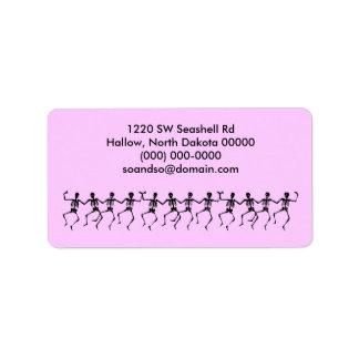 Dancing Skeletons Pink Address Label