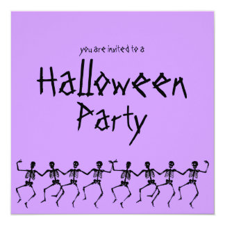 """Dancing Skeletons Purple Halloween Party Invite 5.25"""" Square Invitation Card"""