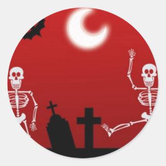 Dancing Skulls Classic Round Sticker