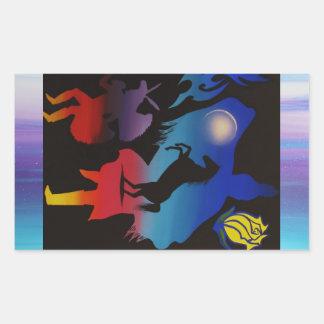 Dancing sky rectangular sticker