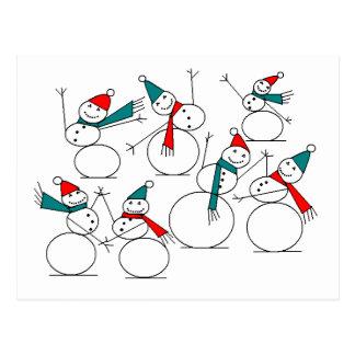Dancing Snow People Postcard