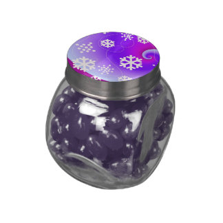 Dancing Snowflakes on a Purple Background Glass Jars