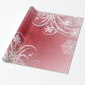 Dancing Snowflakes Red Holiday Wrapping Paper