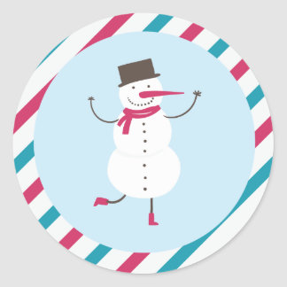 Dancing Snowman Classic Round Sticker
