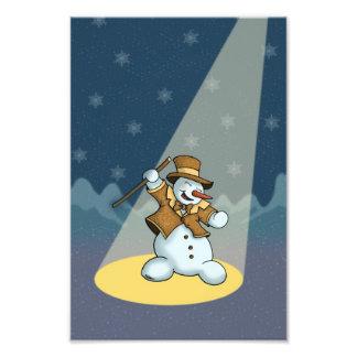 dancing snowman holiday photo print