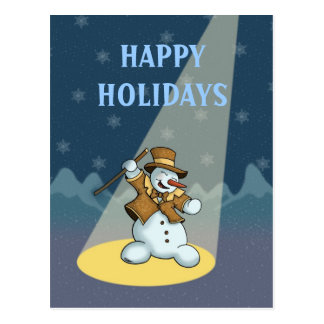 dancing snowman holiday postcard