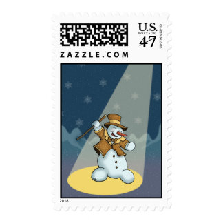 dancing snowman holiday stamp