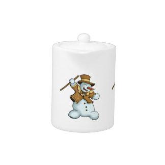 dancing snowman holiday teapot.