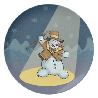 dancing snowman plate