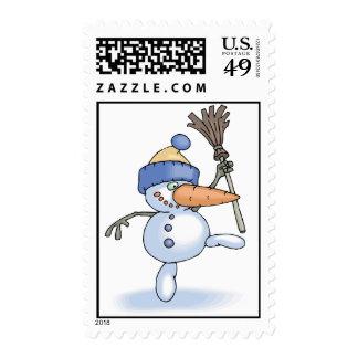 Dancing Snowman Postage Stamp