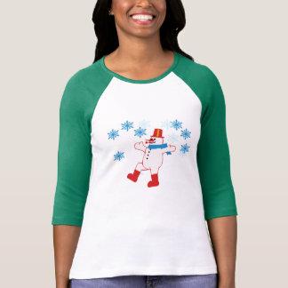 dancing snowman two-tone T-shirt Design