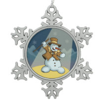 dancing snowman winter holiday ornament