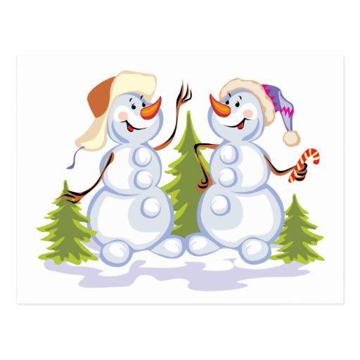 Dancing Snowmen Post Cards