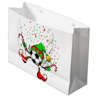 Dancing Soccer Christmas Elf gift bag