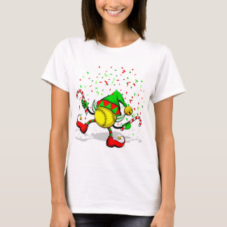 Dancing Softball Christmas Elf T-Shirt