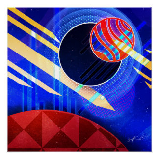 Dancing Spheres Digital Art Poster