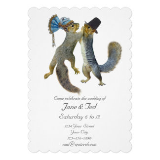 Dancing Squirrels Wedding Invitation Custom Invitation