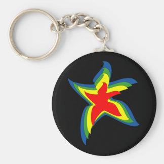 dancing star basic round button keychain