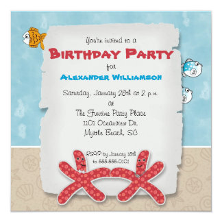 Dancing Starfish Couple Party Invitation