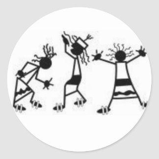 dancing stick figures classic round sticker