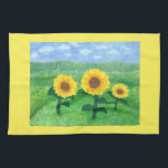 """Dancing Sunflowers Kitchen Towel Yellow<br><div class=""""desc"""">From an original watercolor by Donna Kerr,  these 3 joyful sunflowers appear to be dancing as they sway in the wind high atop a mountain.</div>"""