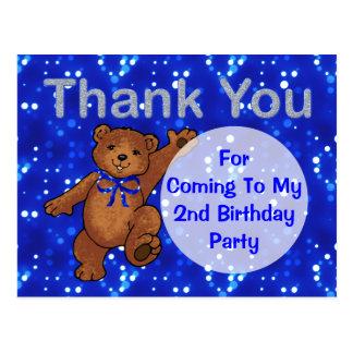 Dancing Teddy Bear 2nd Birthday Party Thank You Postcard