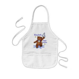 Dancing Teddy Bear 4th Birthday for Girl Kids' Apron