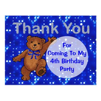 Dancing Teddy Bear 4th Birthday Party Thank You Postcard