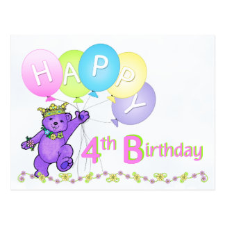 Dancing Teddy Bear 4th Birthday Postcard