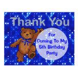 Dancing Teddy Bear 5th Birthday Party Thank You Postcards