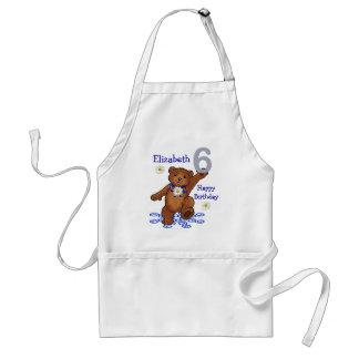 Dancing Teddy Bear 6th Birthday for Girl Adult Apron