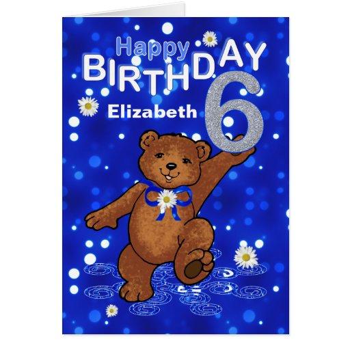Dancing Teddy Bear 6th Birthday for Girl Card