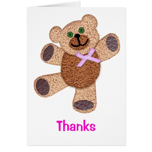 Dancing Teddy Bear Applique Pink Thanks Stationery Note Card