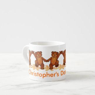 Dancing Teddy Bears Custom Name Espresso Cup