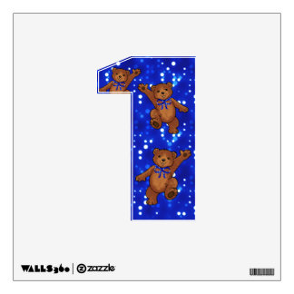Dancing Teddy Bears Number 1 Wall Sticker