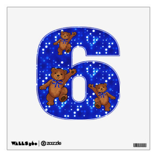 Dancing Teddy Bears Number 6 Wall Stickers