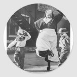 Dancing the day away classic round sticker