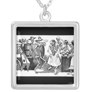 """""""Dancing the Jarabe in the Other World"""" Square Pendant Necklace"""