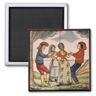 Dancing the Sardana-Spanish Ceramic Tile- Magnet 1
