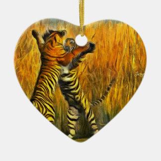 Dancing Tigers Ceramic Ornament