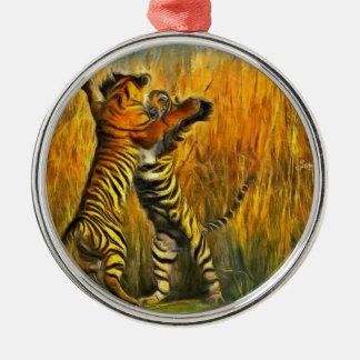 Dancing Tigers Metal Ornament