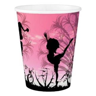 Dancing to violin music in a fantasy world paper cup
