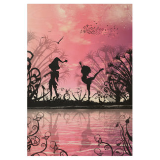 Dancing to violin music in a fantasy world wood poster
