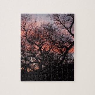 Dancing Tree Skeletons at Sunset Jigsaw Puzzle
